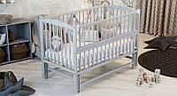 """Кроватка на маятнике ТМ Дубик-М """"Веселка"""" с откидным бортиком. Цвет: серый"""