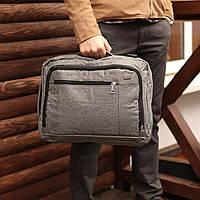 Сумка рюкзак трансформер офисный для ноутбука на 2 отделения серый, фото 1