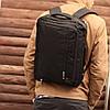 Сумка рюкзак трансформер офисный для ноутбука на 2 отделения черный