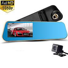 Автомобильный видеорегистратор зеркало Full HD 1080 P (2 камеры)