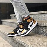 🔥 Кроссовки женские Nike Air Jordan 1 Retro найк эир джордан ретро золотые белые повседневные спортивные, фото 3