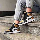 🔥 Кроссовки женские Nike Air Jordan 1 Retro найк эир джордан ретро золотые белые повседневные спортивные, фото 2