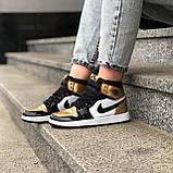 🔥 Кроссовки женские Nike Air Jordan 1 Retro найк эир джордан ретро золотые белые повседневные спортивные, фото 8