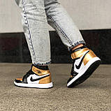 🔥 Кроссовки женские Nike Air Jordan 1 Retro найк эир джордан ретро золотые белые повседневные спортивные, фото 6