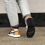 🔥 Кроссовки женские Nike Air Jordan 1 Retro найк эир джордан ретро золотые белые повседневные спортивные, фото 5