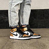 🔥 Кроссовки женские Nike Air Jordan 1 Retro найк эир джордан ретро золотые белые повседневные спортивные, фото 4