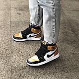 🔥 Кроссовки женские Nike Air Jordan 1 Retro найк эир джордан ретро золотые белые повседневные спортивные, фото 7