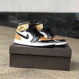 🔥 Кроссовки женские Nike Air Jordan 1 Retro найк эир джордан ретро золотые белые повседневные спортивные, фото 9