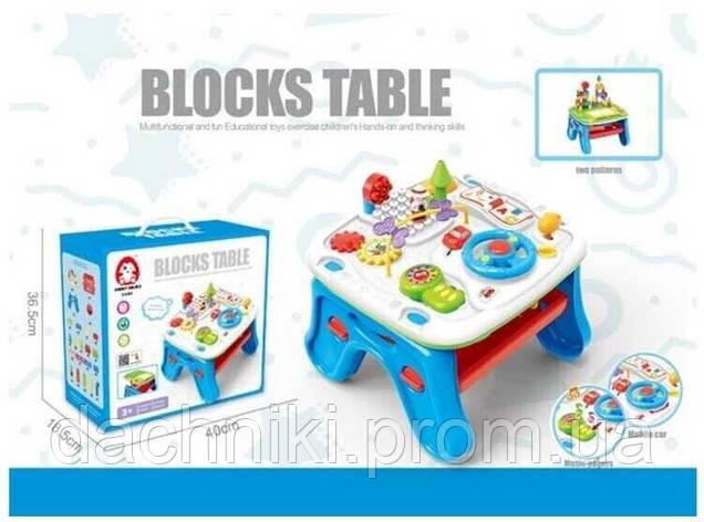 Игровой столик EA 002 (6/2) звук, конструктор, музыкальный телефон, досточка для рисования, в коробке, фото 2