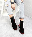 Женские демисезонные ботинки Челси черная замша/лак 7545-29, фото 4