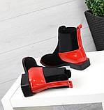 Женские демисезонные ботинки Челси черная замша/лак 7545-29, фото 6