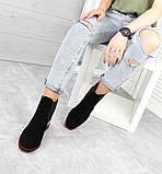 Женские демисезонные ботинки Челси черная замша/лак 7545-29, фото 8
