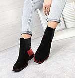 Женские демисезонные ботинки Челси черная замша/лак 7545-29, фото 2