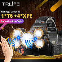 Налобный фонарь с зумом и датчиком движения TRLIFE BL254 + USB шнур для зарядки (4*XPE + 1*T6) Без батареи