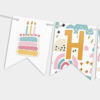 Гирлянда бумажная Happy birthday Торт