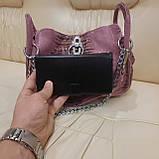 Городская женская сумочка Pink из стильной натуральной кожи, фото 5