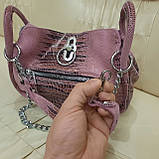 Городская женская сумочка Pink из стильной натуральной кожи, фото 9