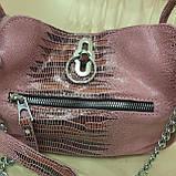 Городская женская сумочка Pink из стильной натуральной кожи, фото 10
