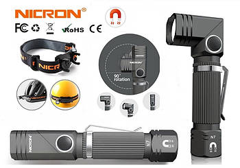 Налобный и ручной Г-образный поворотный универсальный фонарь NICRON N7 (600LM, IP65,+Магнит и Клипса)