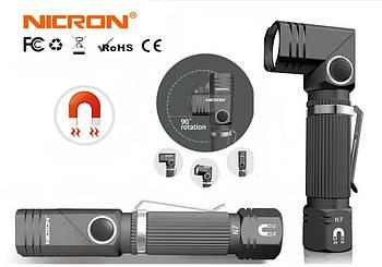 Ручной Г-образный поворотный универсальный фонарь фонарик NICRON N7 600LM IP65 led + Магнит и Клипса