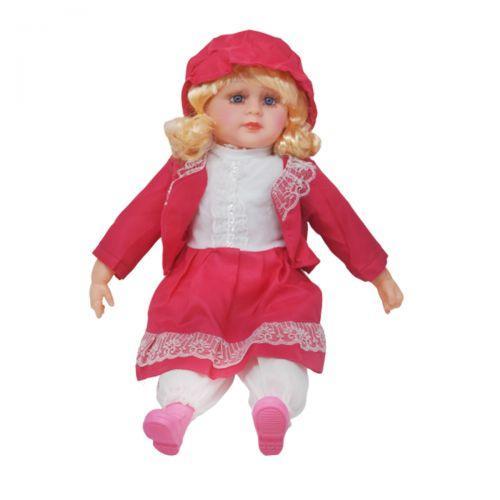 Мягкая кукла в платье и шляпке (малиновый) sv-79