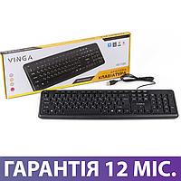 Клавиатура для компьютера Vinga KB110BK, черная, USB, проводная