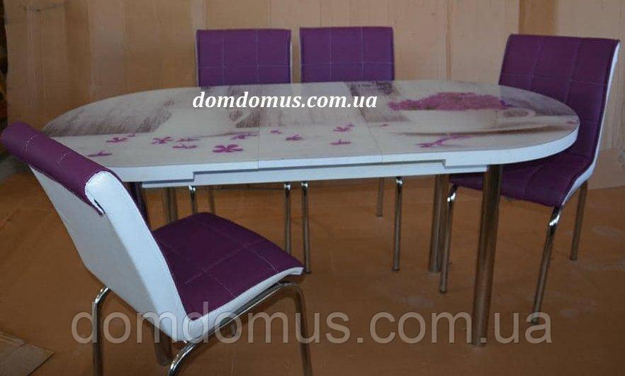 """Комплект обеденной мебели """"Vazo"""" 130*70 см (стол ДСП, каленное стекло + 4 стула) Mobilgen, Турция"""