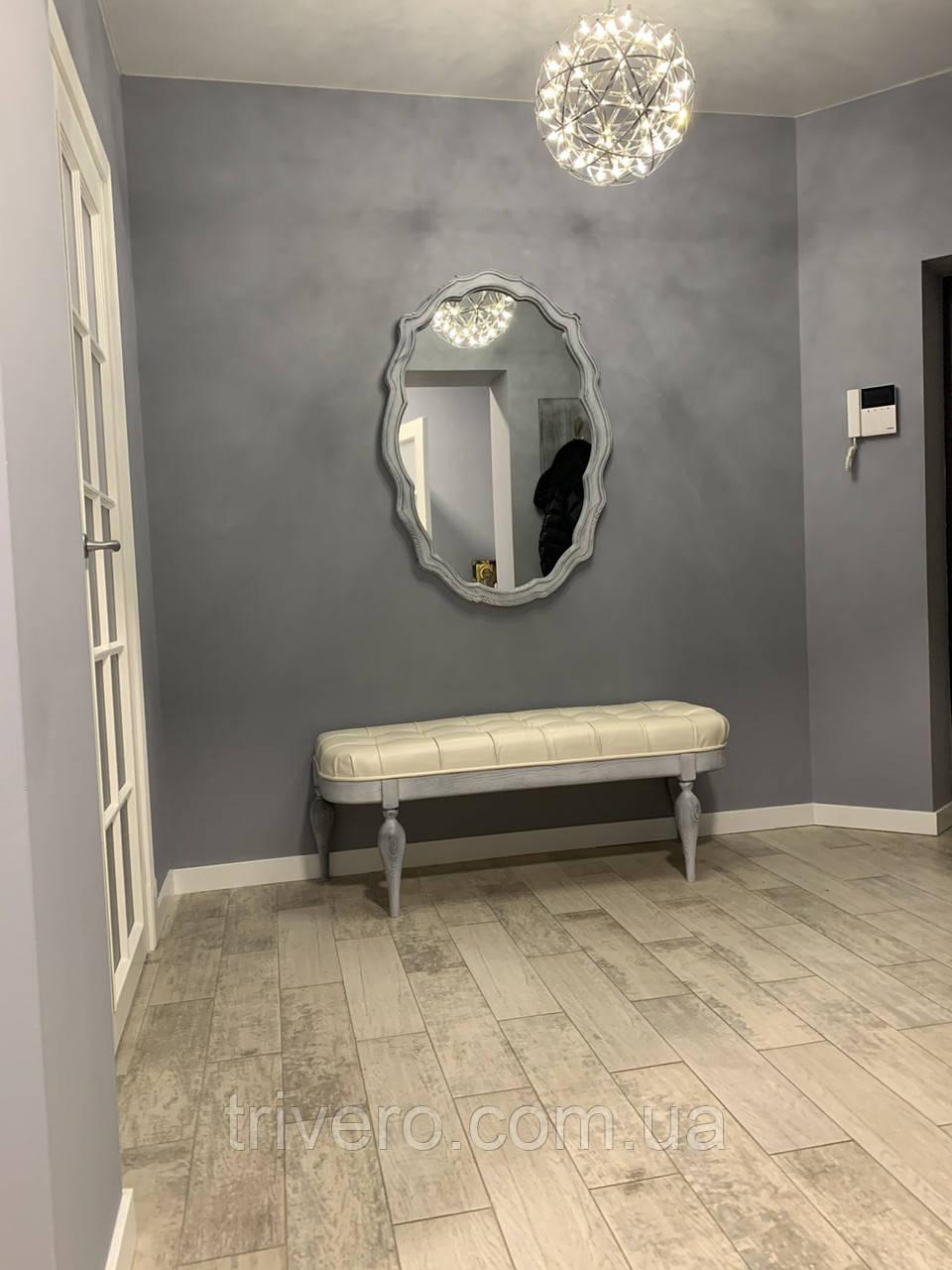 Зеркало настенное в резной деревянной раме черного цвета  Z-07
