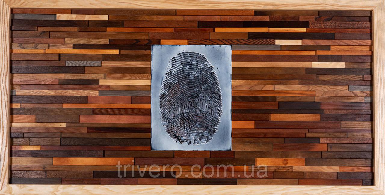 Картина панно з дерева відбиток пальця