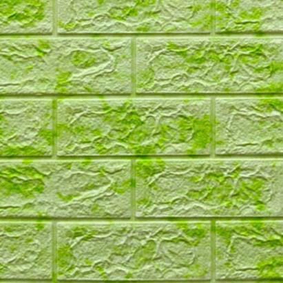 Мягкие 3D панели 700x770x5мм (самоклейка) Кирпич Салатовый Мрамор