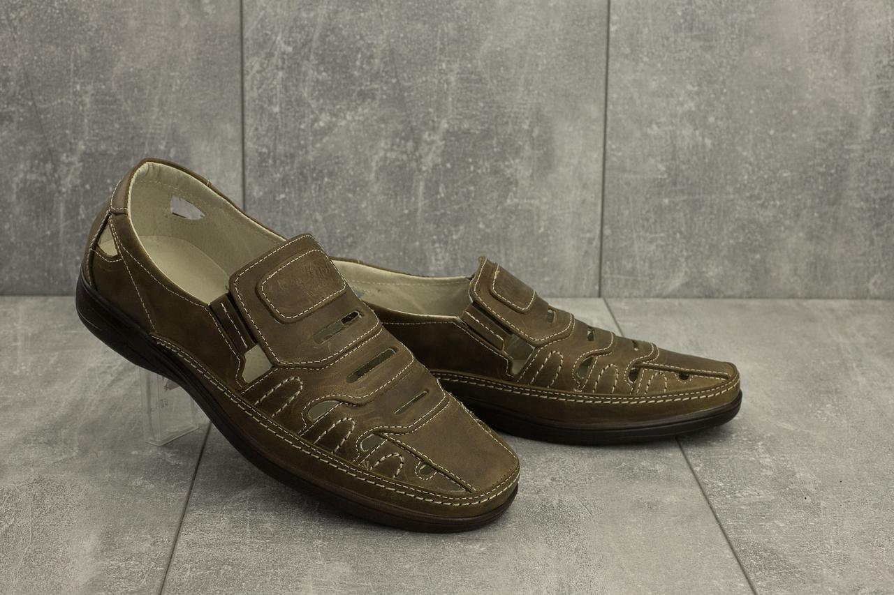 Мужские сандали кожаные летние оливковые Vankristi 1151