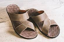 Мужские шлепанцы кожаные летние коричневые Bonis Original 27