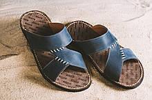 Мужские шлепанцы кожаные летние синие Bonis Original 27