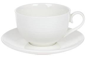 Чайна пара: фарфорова чашка 310мл з блюдцем, колір - білий, в упаковці 4шт. (988-277)