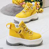 Модные трендовые желтые женские кроссовки на платформе на флисе на молнии, фото 2