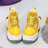 Модные трендовые желтые женские кроссовки на платформе на флисе на молнии, фото 3