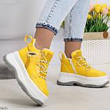 Модные трендовые желтые женские кроссовки на платформе на флисе на молнии, фото 4