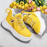 Модные трендовые желтые женские кроссовки на платформе на флисе на молнии, фото 5