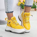 Модные трендовые желтые женские кроссовки на платформе на флисе на молнии, фото 6