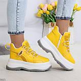 Модные трендовые желтые женские кроссовки на платформе на флисе на молнии, фото 7