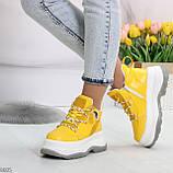 Модные трендовые желтые женские кроссовки на платформе на флисе на молнии, фото 8