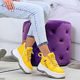 Модные трендовые желтые женские кроссовки на платформе на флисе на молнии, фото 9