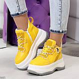 Модные трендовые желтые женские кроссовки на платформе на флисе на молнии, фото 10