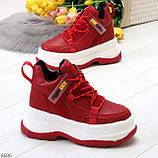 Модные трендовые красные женские кроссовки на платформе на флисе на молнии, фото 3