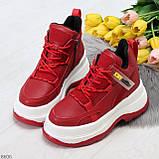Модные трендовые красные женские кроссовки на платформе на флисе на молнии, фото 5
