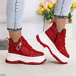 Модные трендовые красные женские кроссовки на платформе на флисе на молнии, фото 6