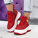 Модные трендовые красные женские кроссовки на платформе на флисе на молнии, фото 7