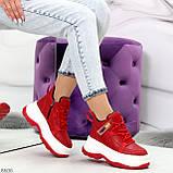 Модные трендовые красные женские кроссовки на платформе на флисе на молнии, фото 8