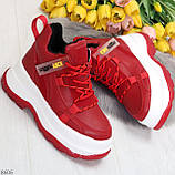 Модные трендовые красные женские кроссовки на платформе на флисе на молнии, фото 9
