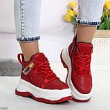 Модные трендовые красные женские кроссовки на платформе на флисе на молнии, фото 10